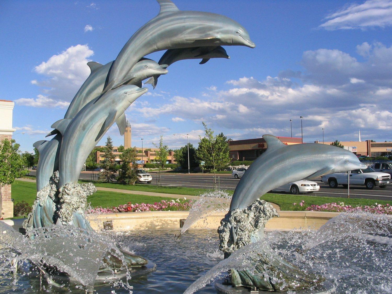 Dolphin fountain in Denver, Colorado