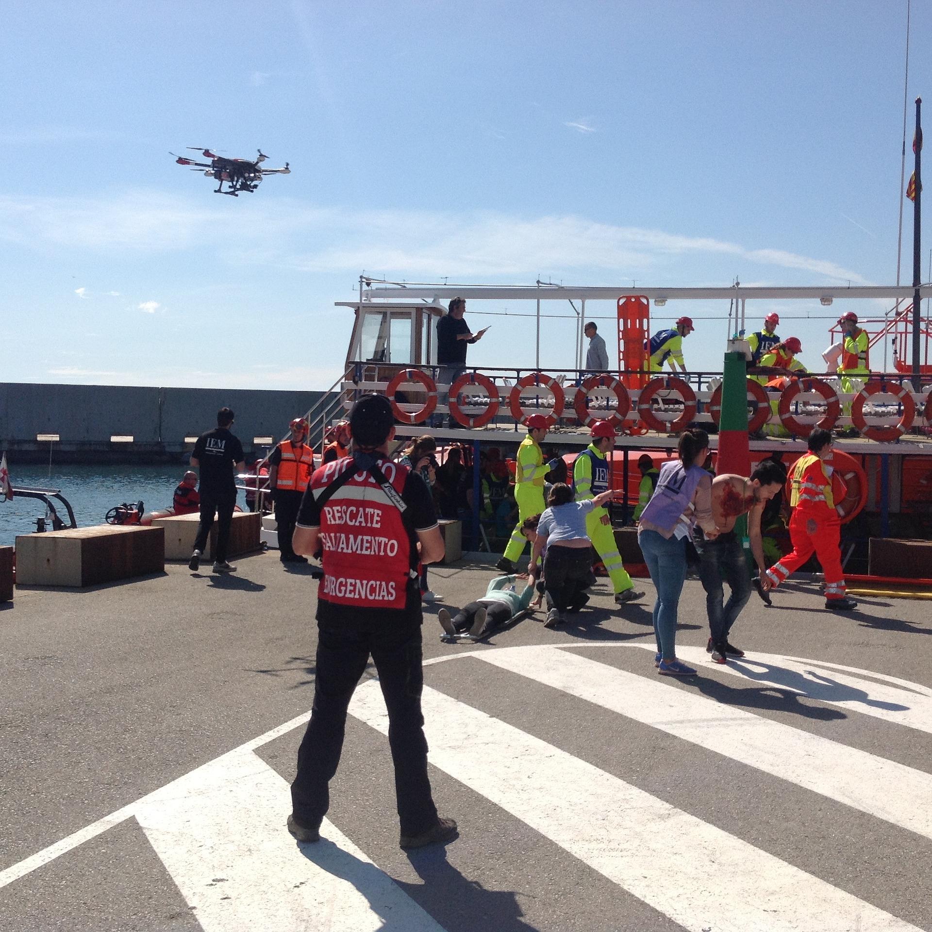 Drone flying aobe emergency scene
