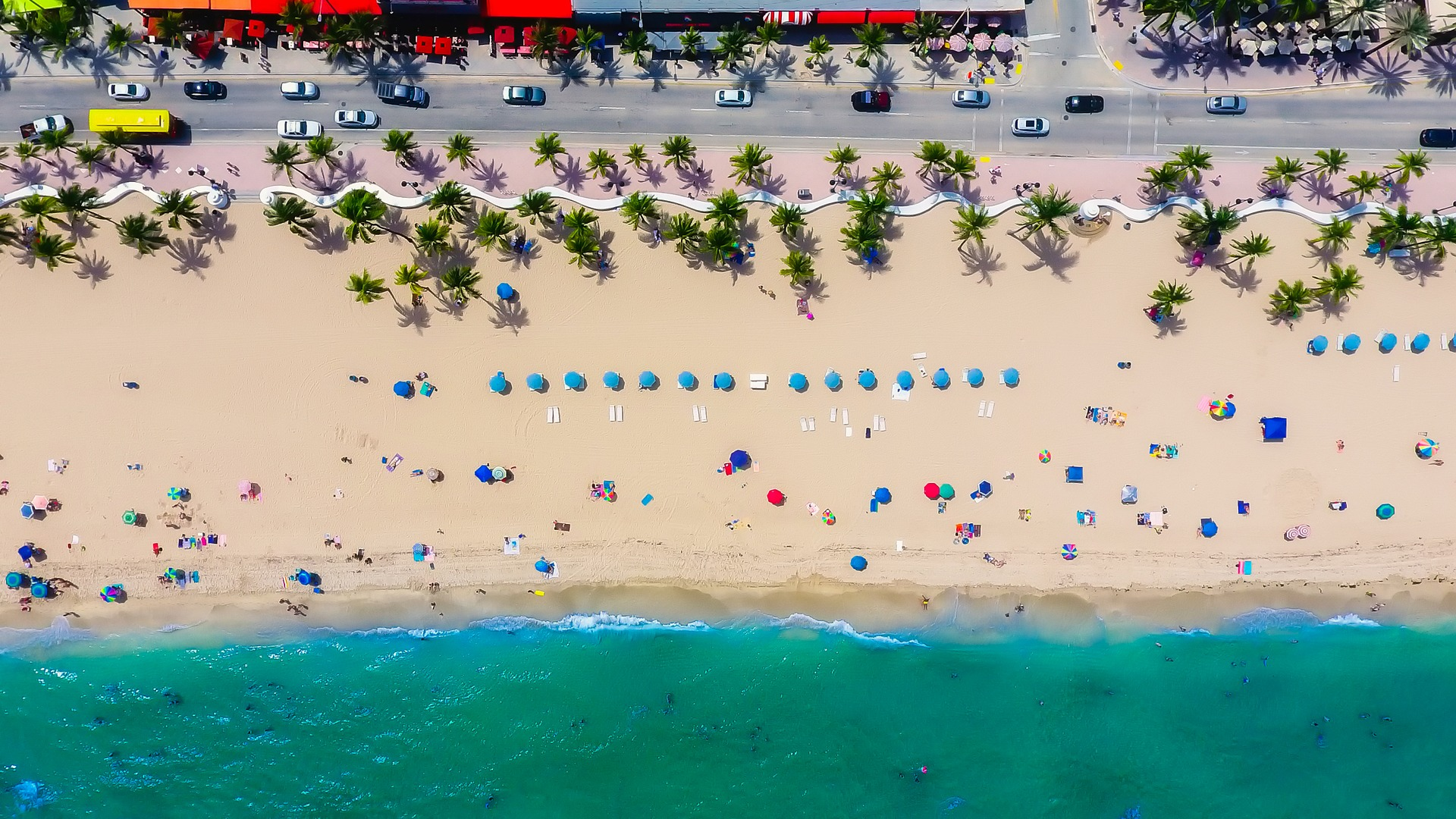 Drone image of beach in Fort Lauderdale, Florida