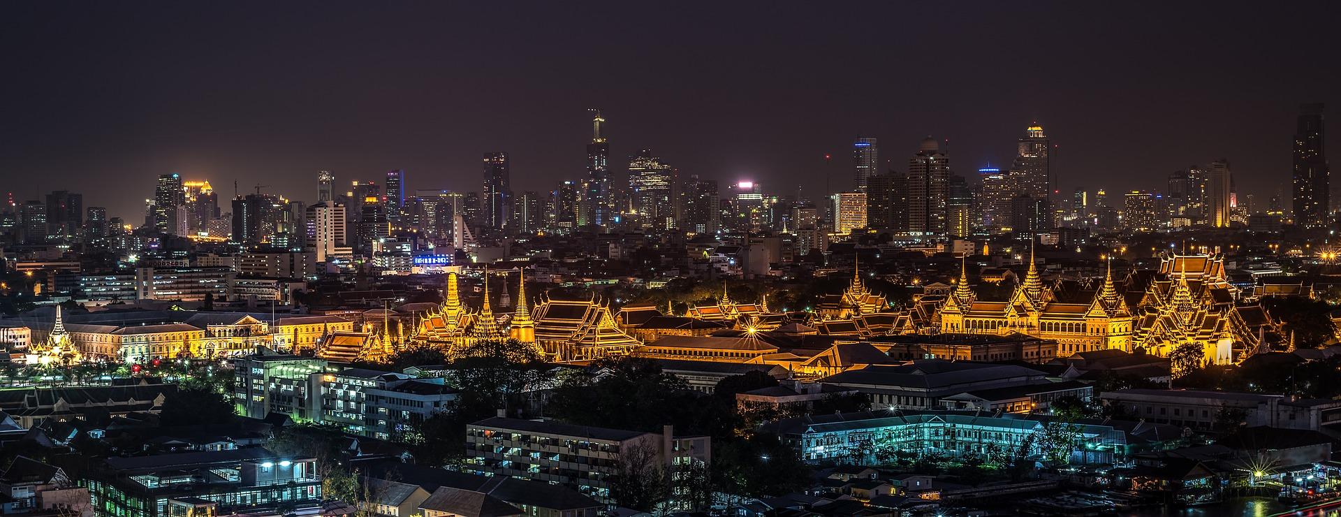 Grand Palace in Bangkok, Thailand at night