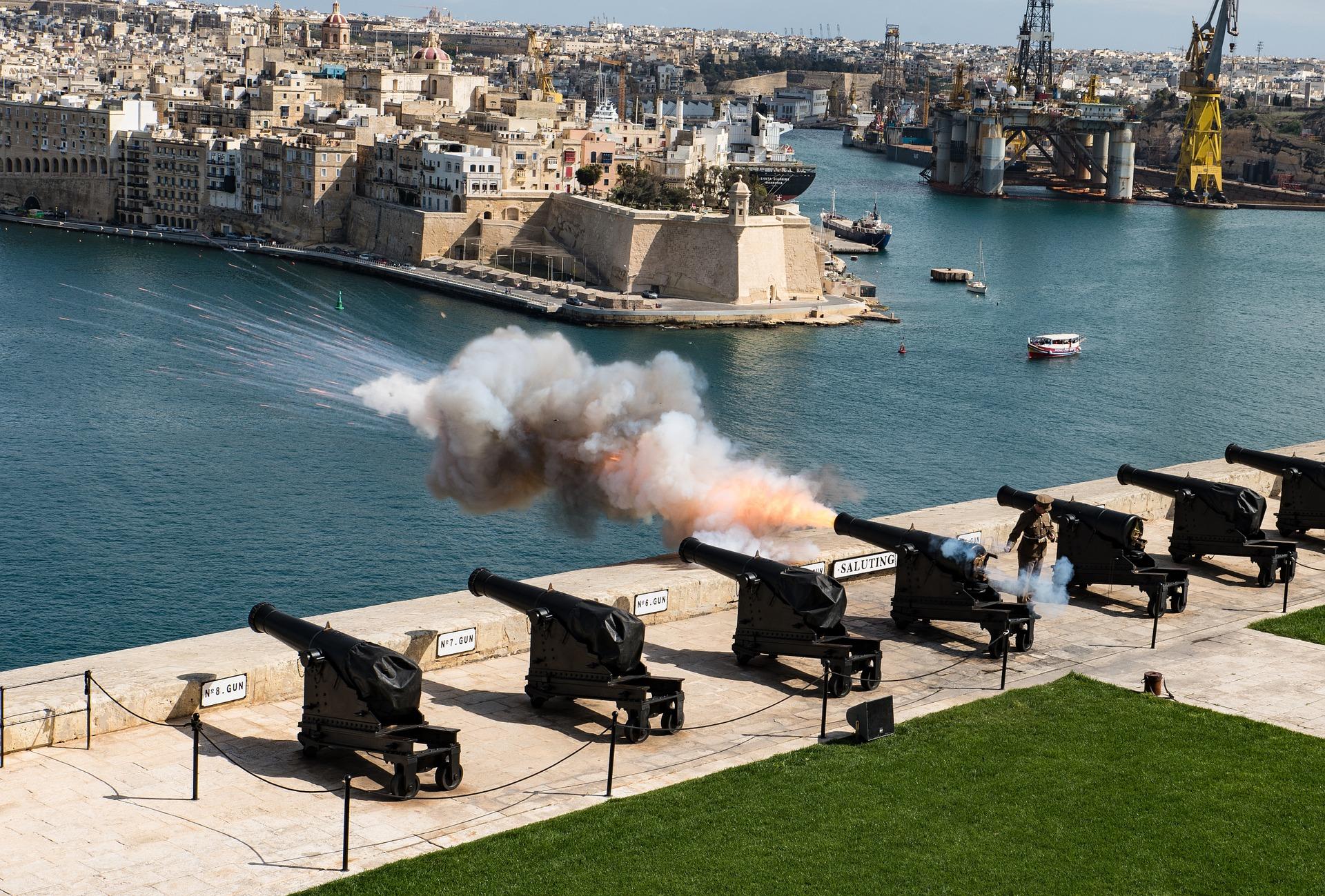 Gun salute in Valletta, Malta