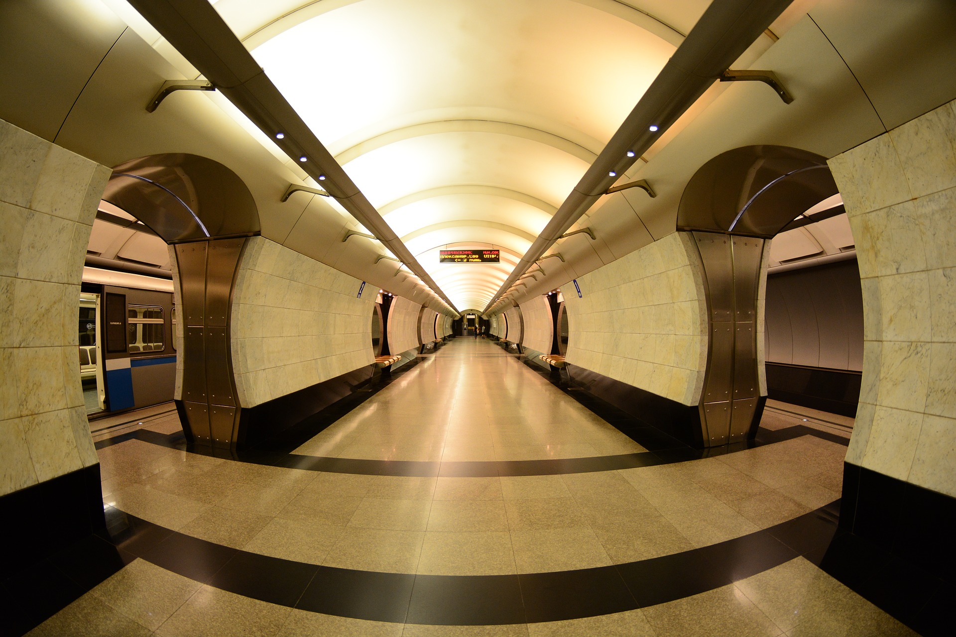 Inside a metro station in Moscow, Russia
