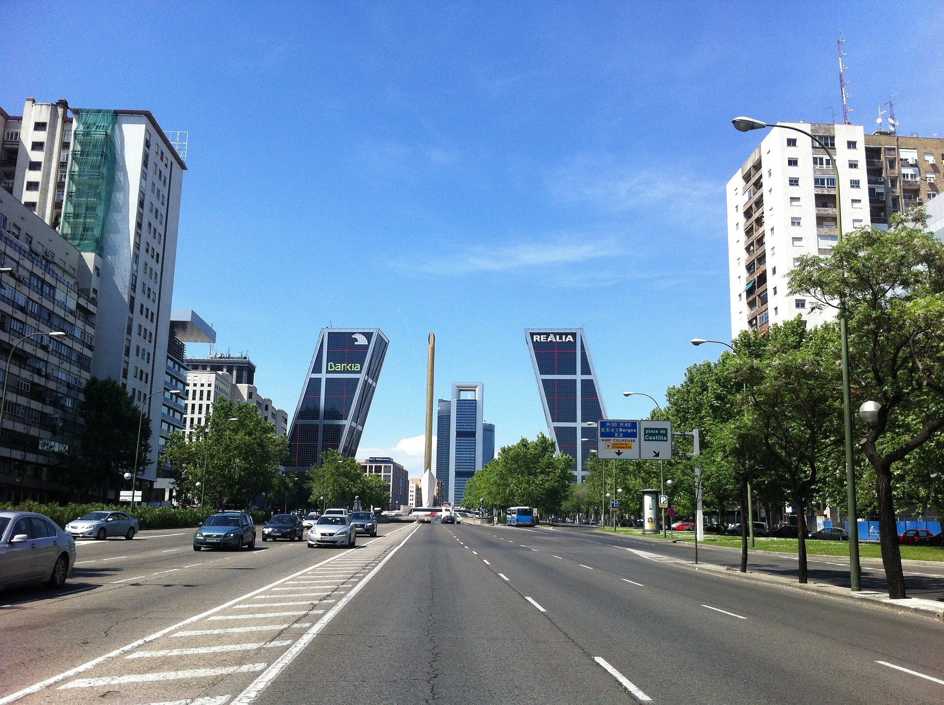 Known as 'The Gate of Europe' the two leaning bank office towers at Plaza de Castilla, Madrid, Spain