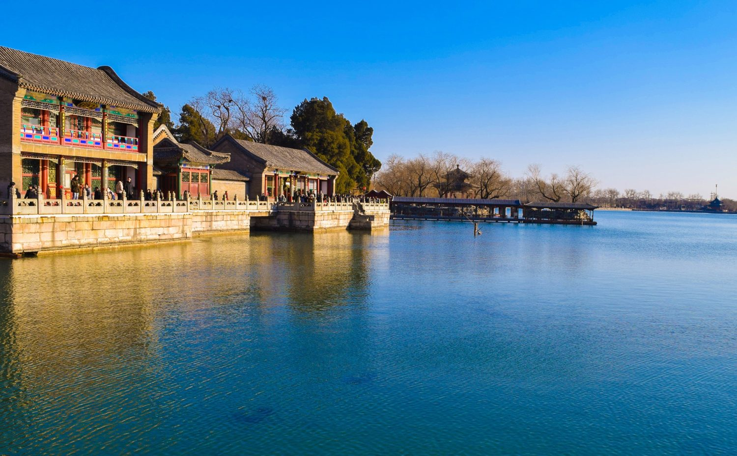 Kunming Lake - the central lake on the grounds of the Summer Palace in Beijing, China