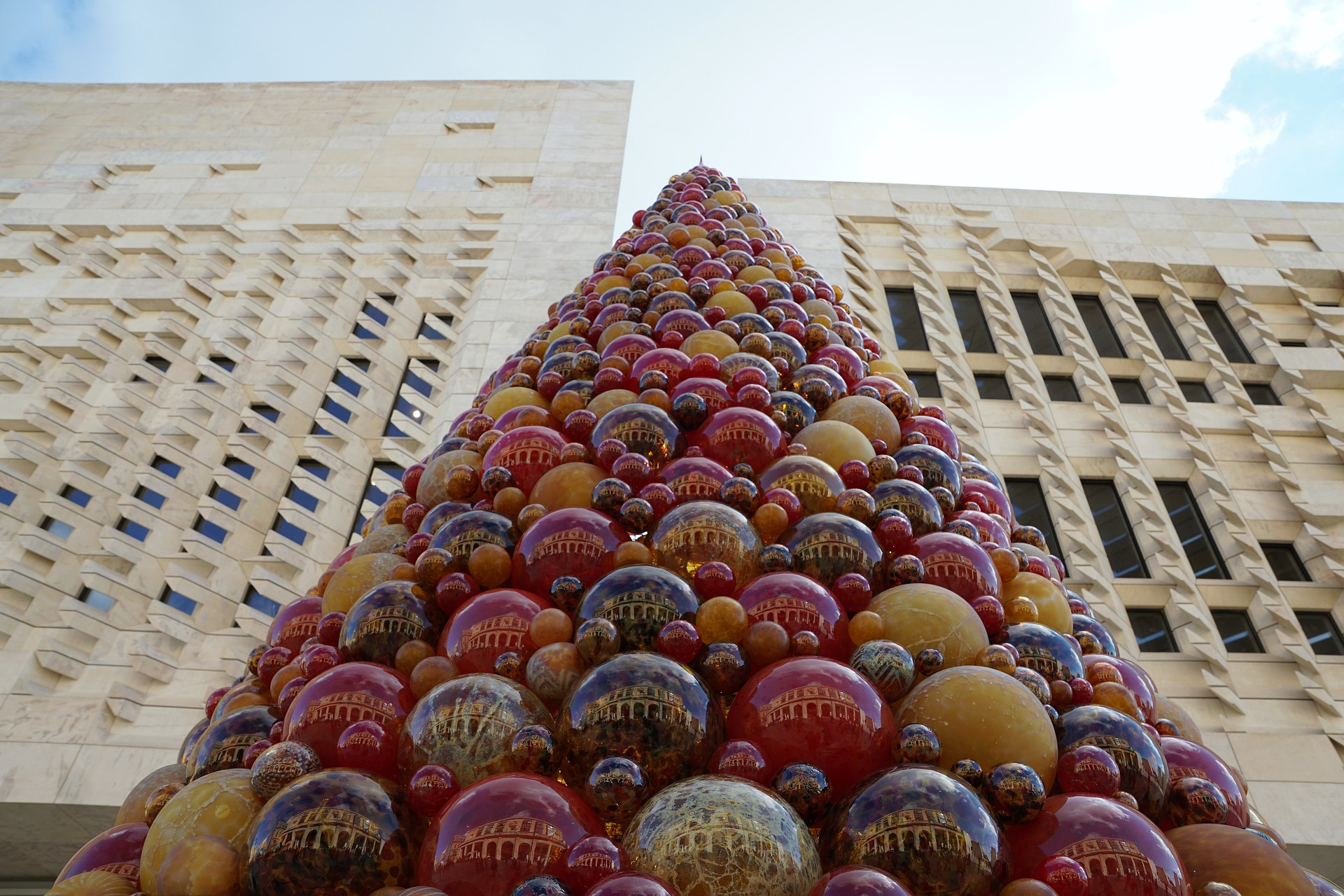 Mdina Christmas tree made with coloured glass balls in Valletta