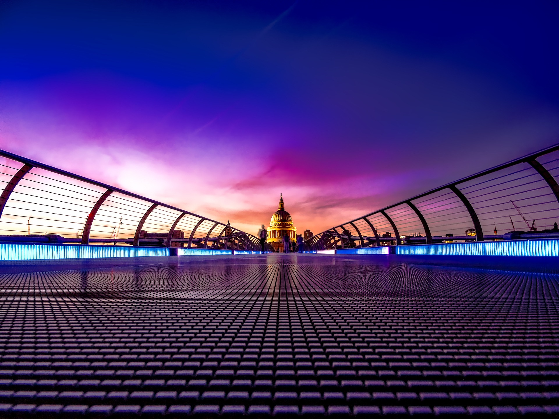 Millennium Bridge, London, with St Pauls Cathedral in background
