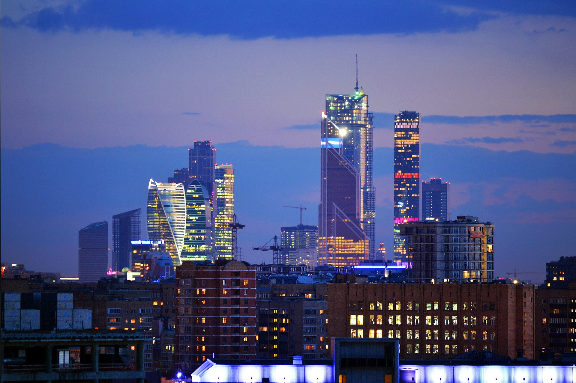 Moscow City, Moscow, Russia at night