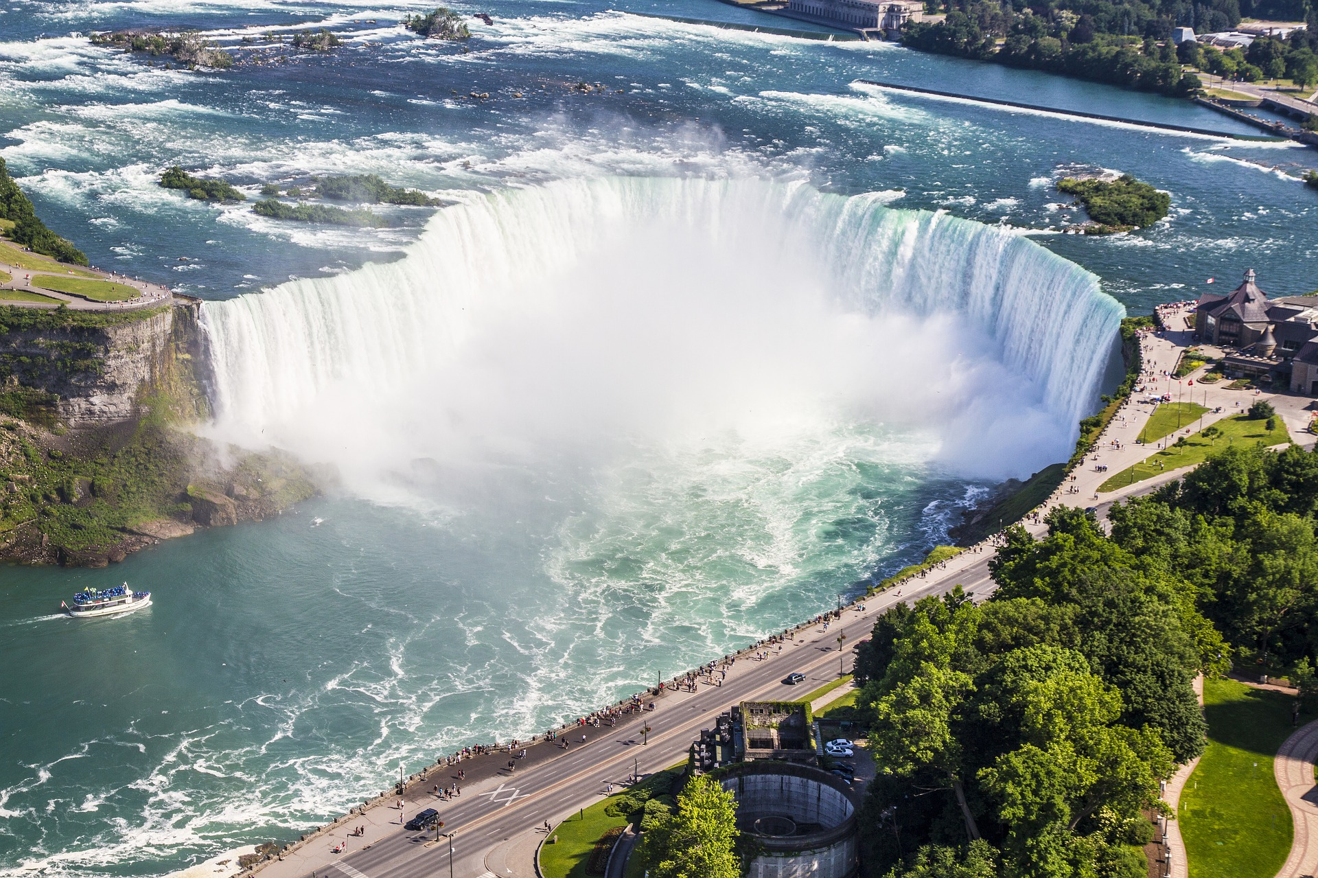 Niagara Falls, between the province of Ontario, Cananda and the state of New York, USA