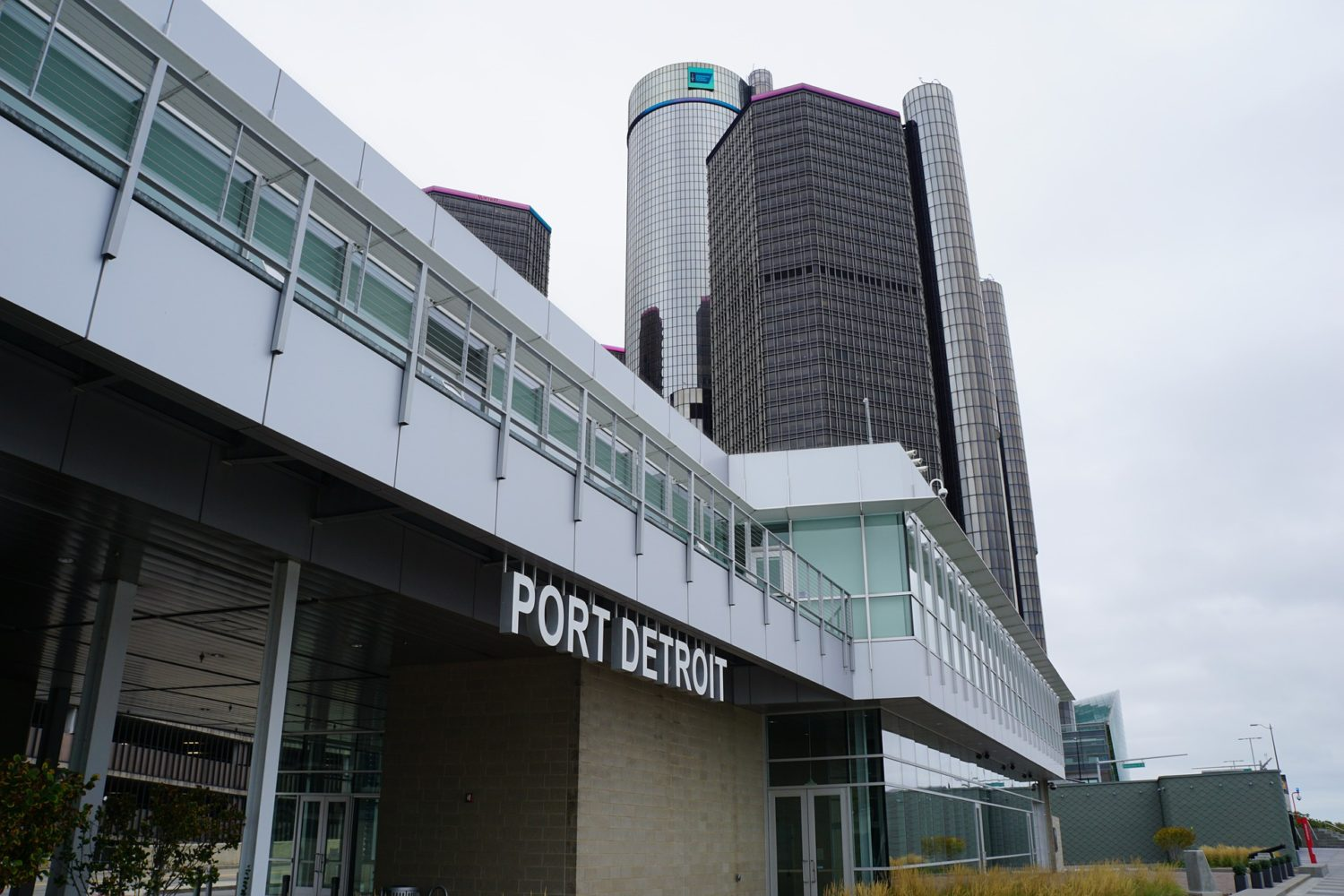 Port Detroit with General Motors' Renaissance Center in background, Detroit, Michigan