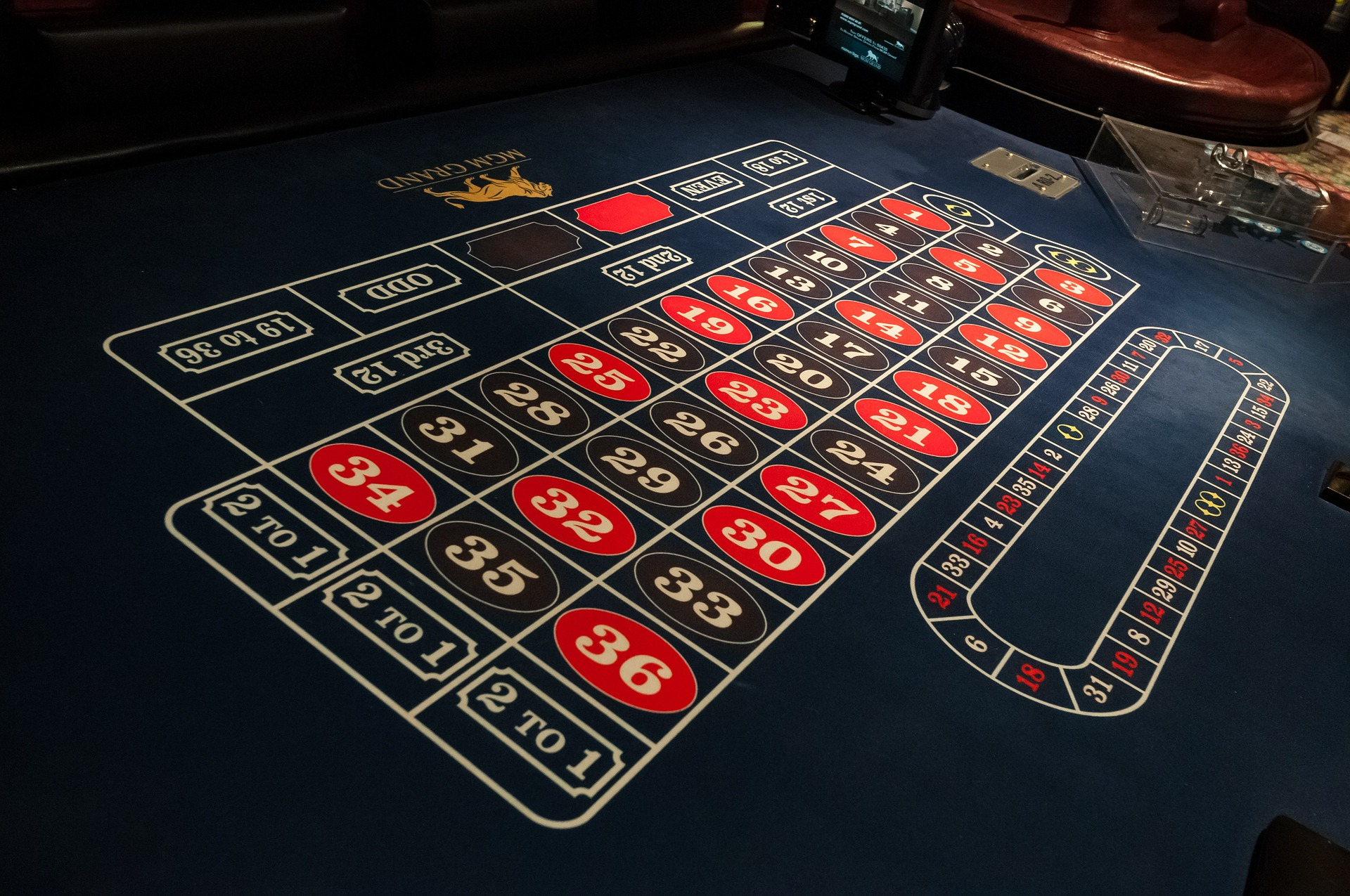 Roulette gaming table at MGM Grand Casino in Las Vegas