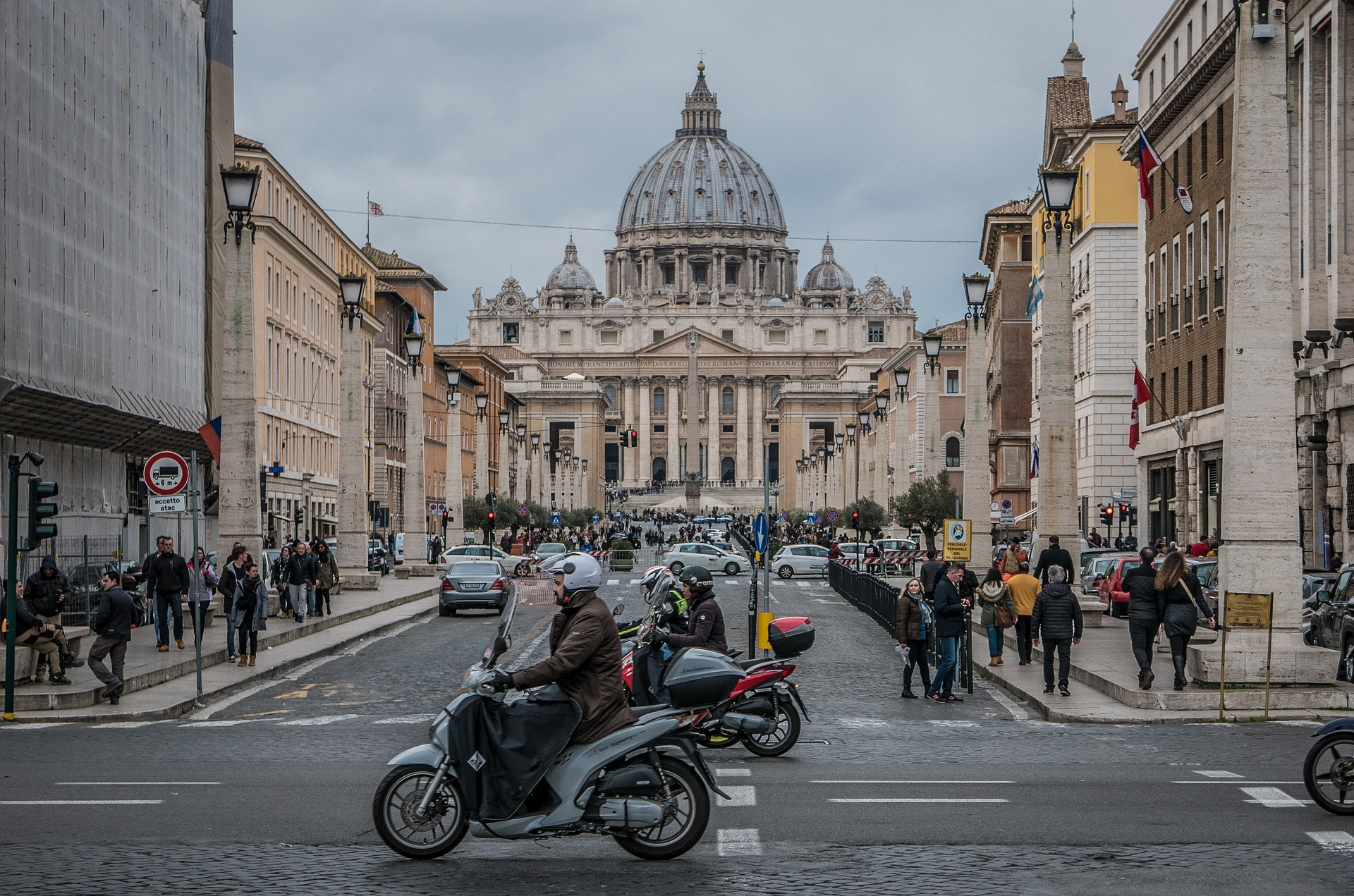 Scooters outside St. Peter's Basilica, Rome