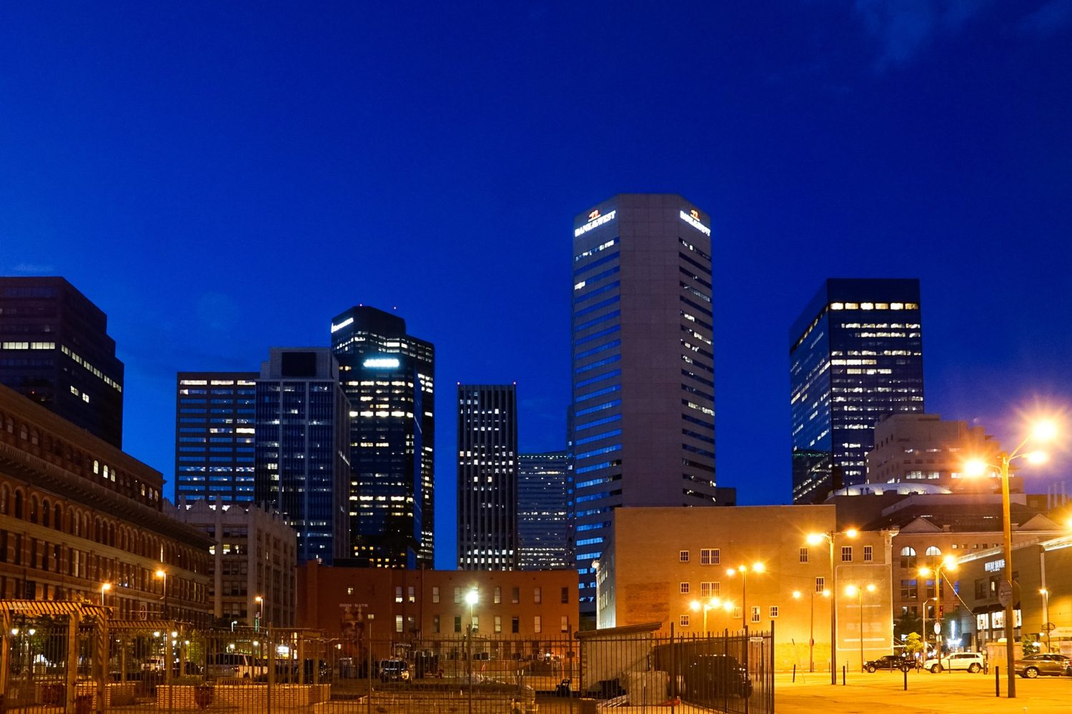 Skyscrapers in Denver, Colorado at night