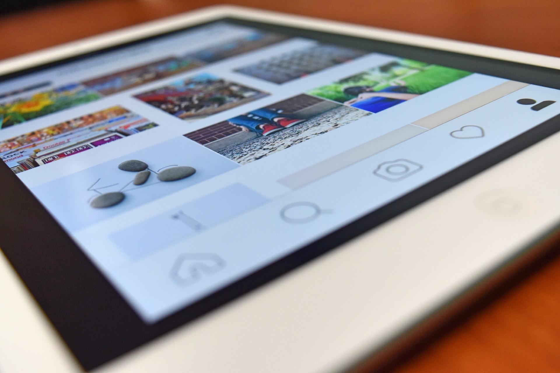 Social media screen on tablet