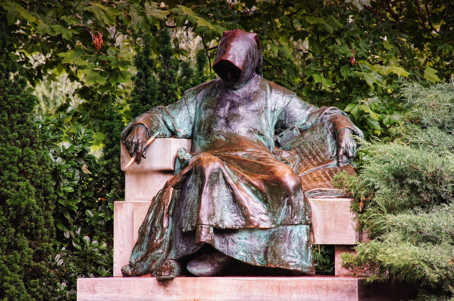 Statue at Vajdahunyad Castle, in the City Park of Budapest, Hungary