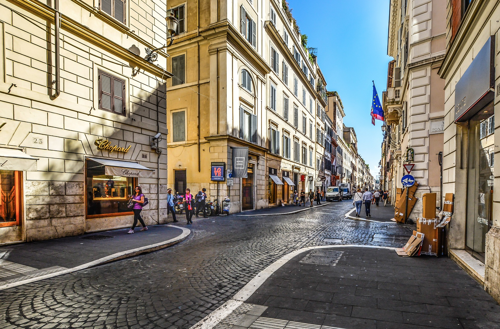 Street with shops in Rome
