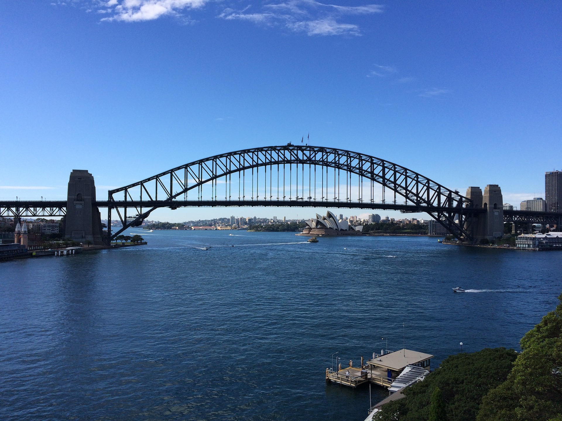 Sydney Harbour Bridge with Sydney Opera House in background, Australia