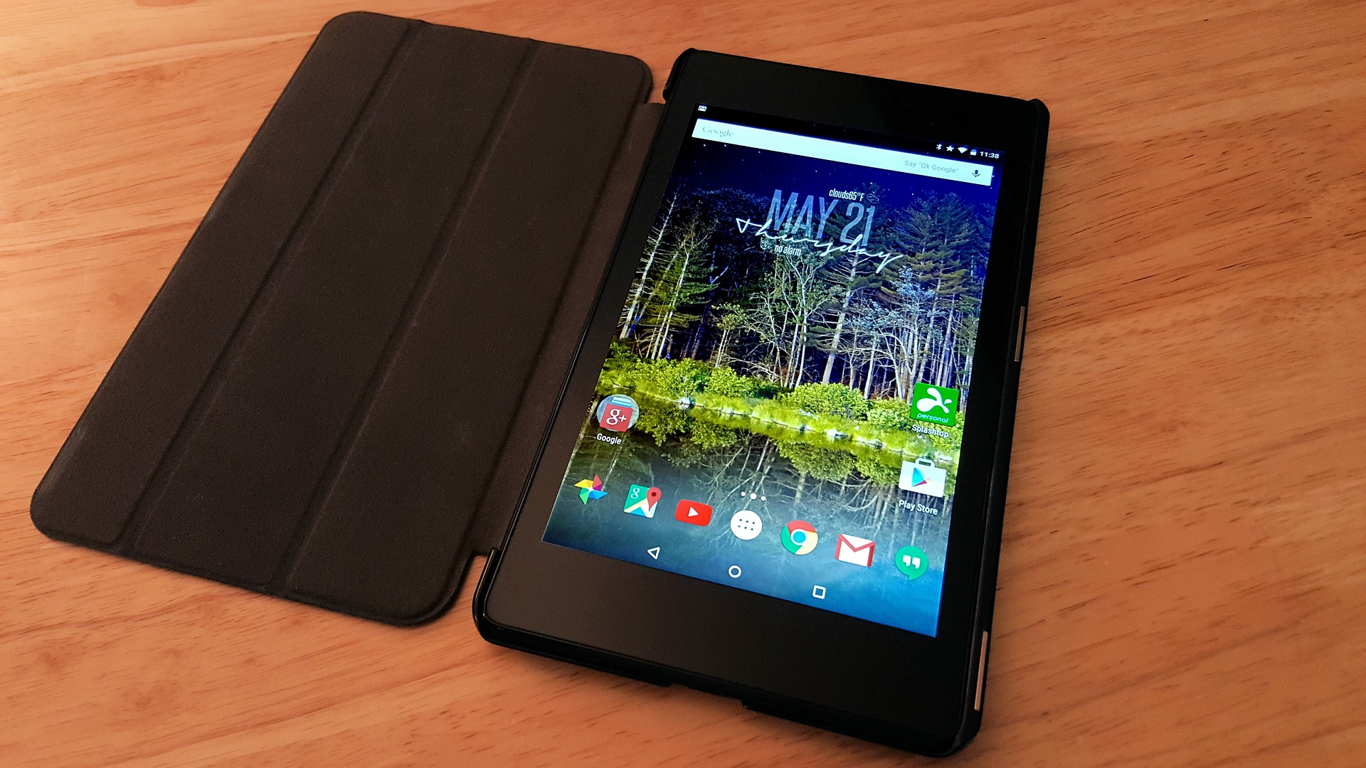 Tablet in black case