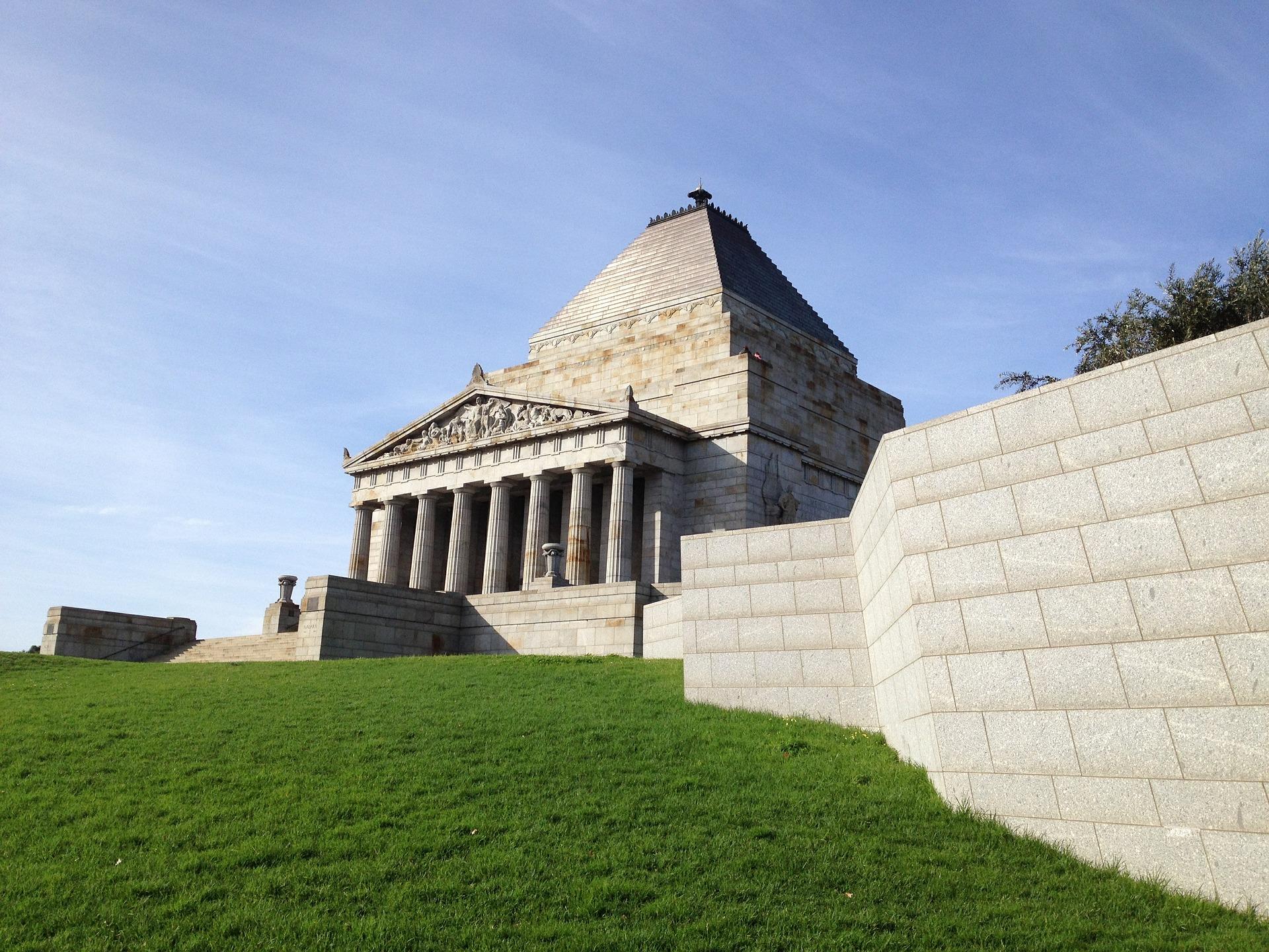 The Shrine of Remembrance War memorial in Melbourne, Victoria, Australia