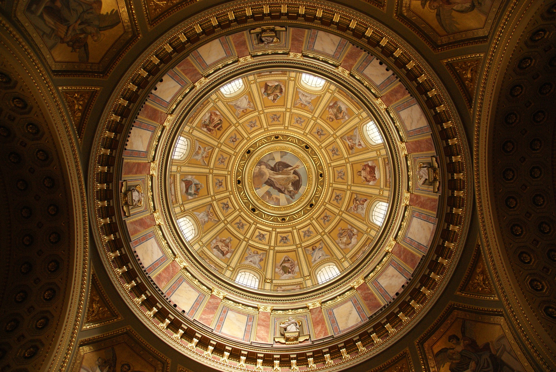 The dome at St. Stephen's Basilica, Budapest, Hungary