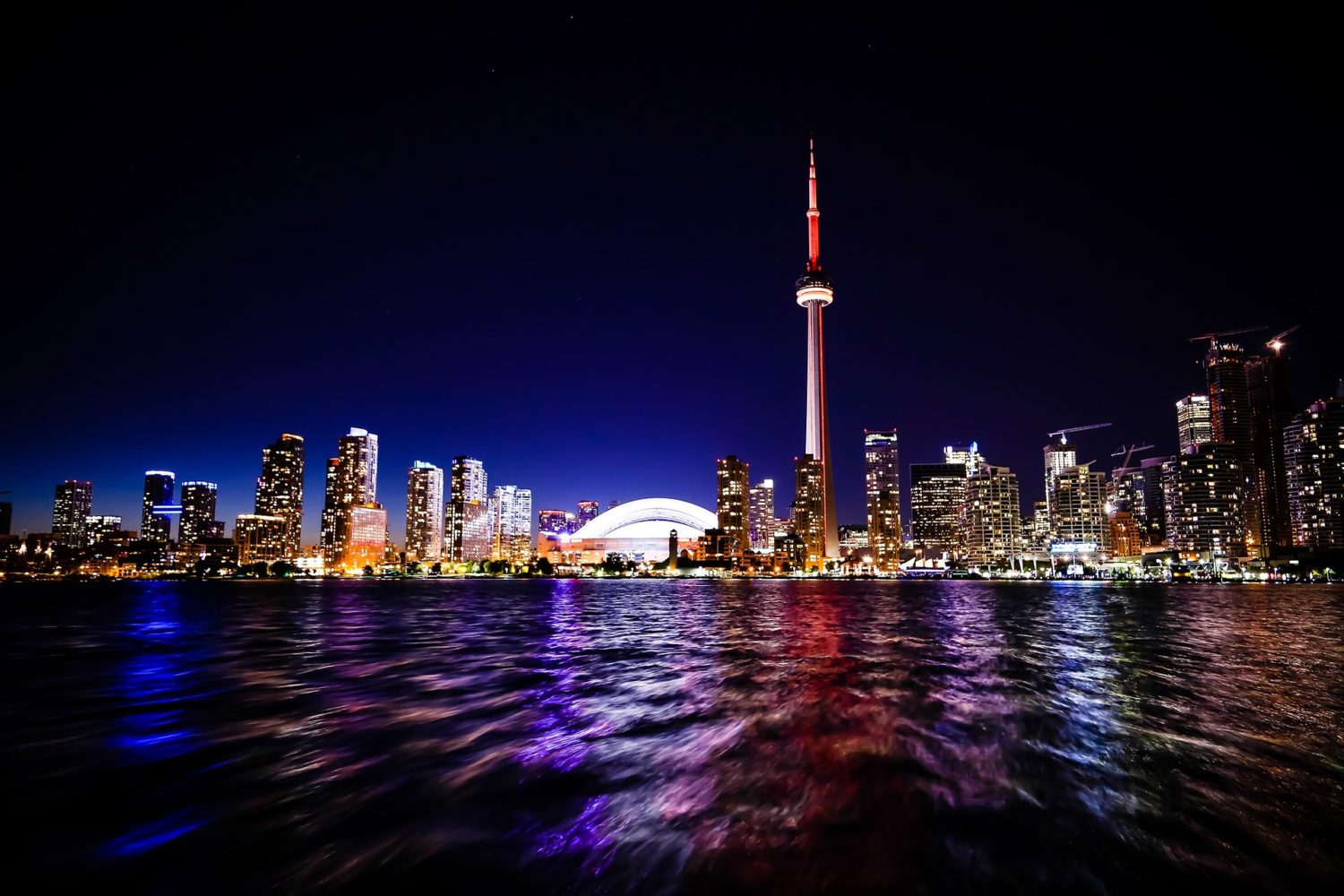 Toronto, Canada at night with the CN Tower
