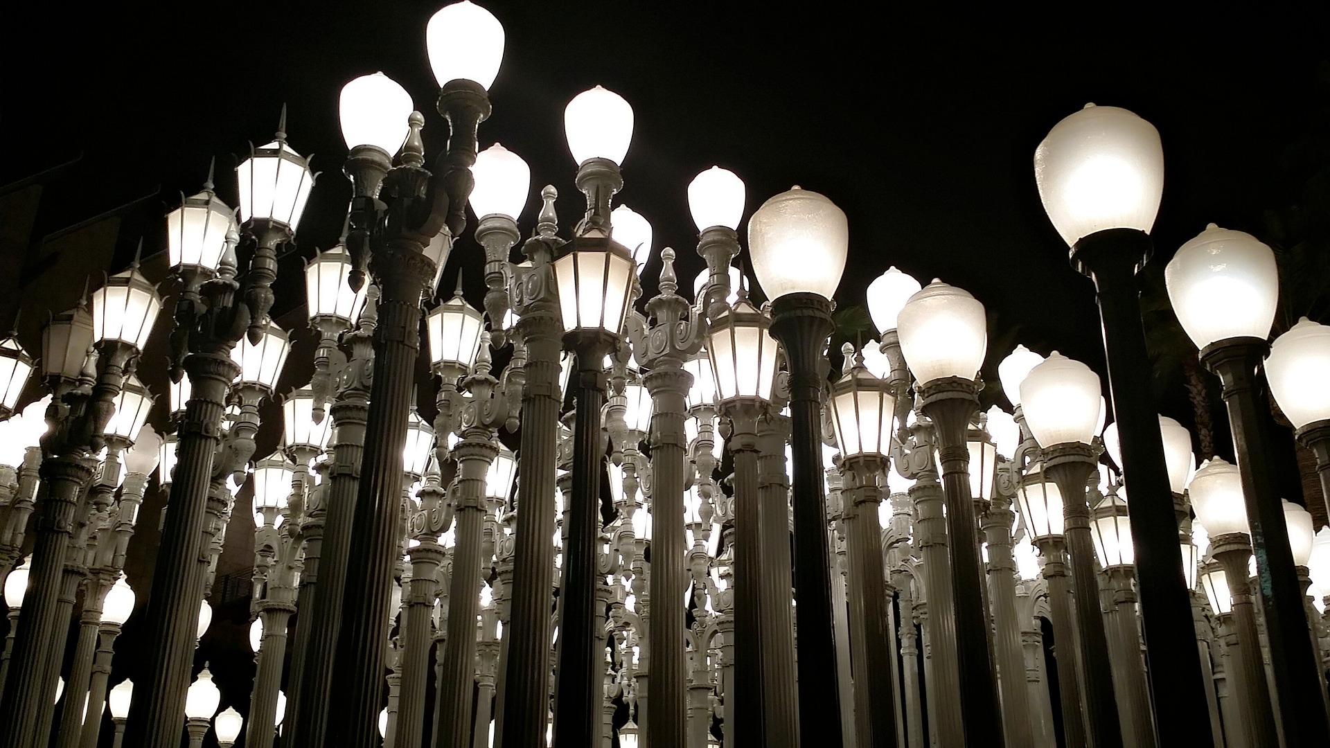 Urban Light at the BP Grand Entrance, The Los Angeles County Museum of Art (LACMA), Los Angeles at night