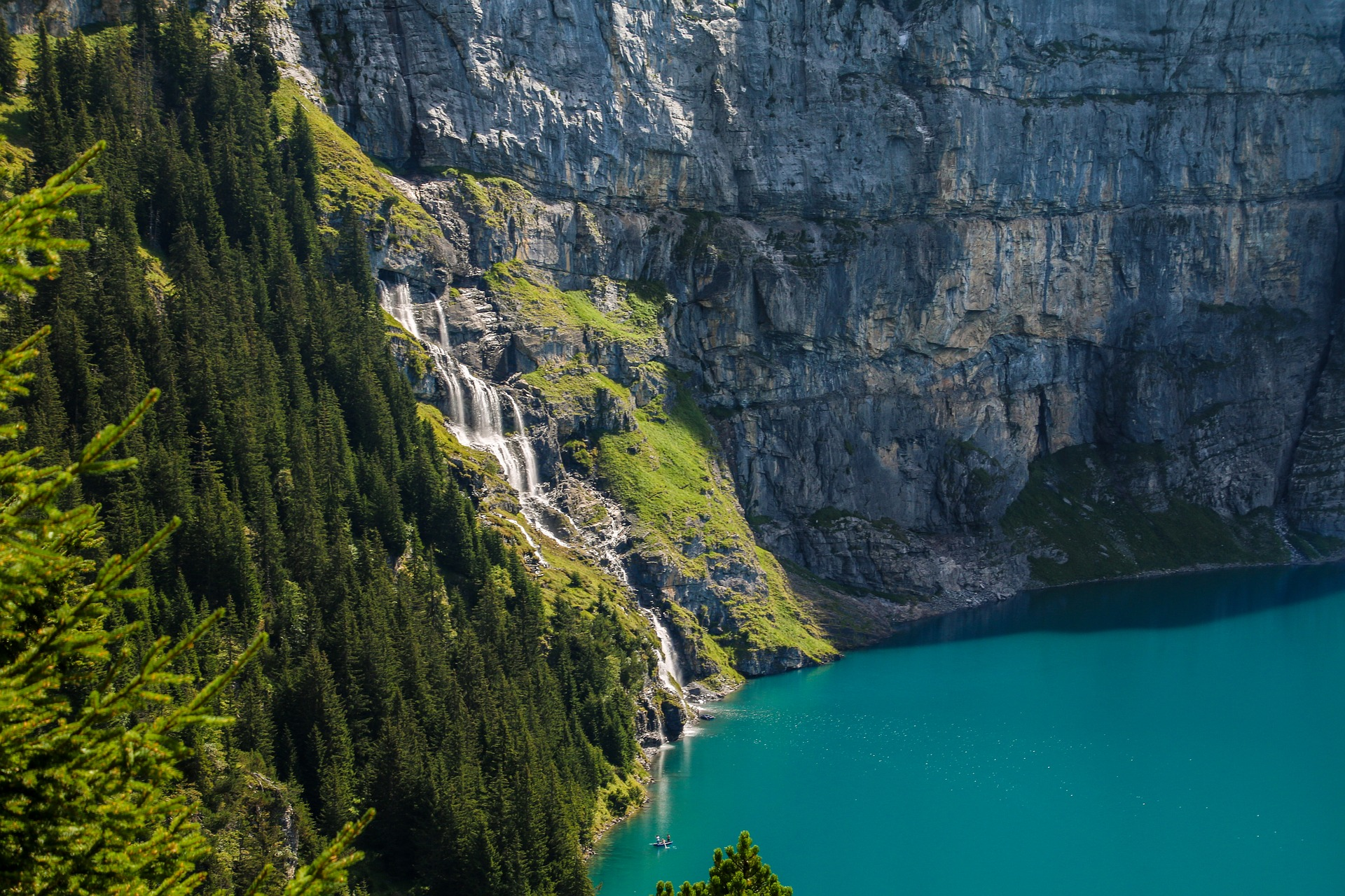 Waterfall at Oeschinensee, Oeschinen Lake, Bernese Oberland, Canton of Bern, Switzerland