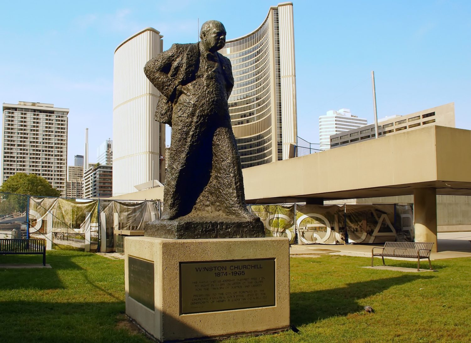 Winston Churchill statue at City H​all, Toronto, Canada