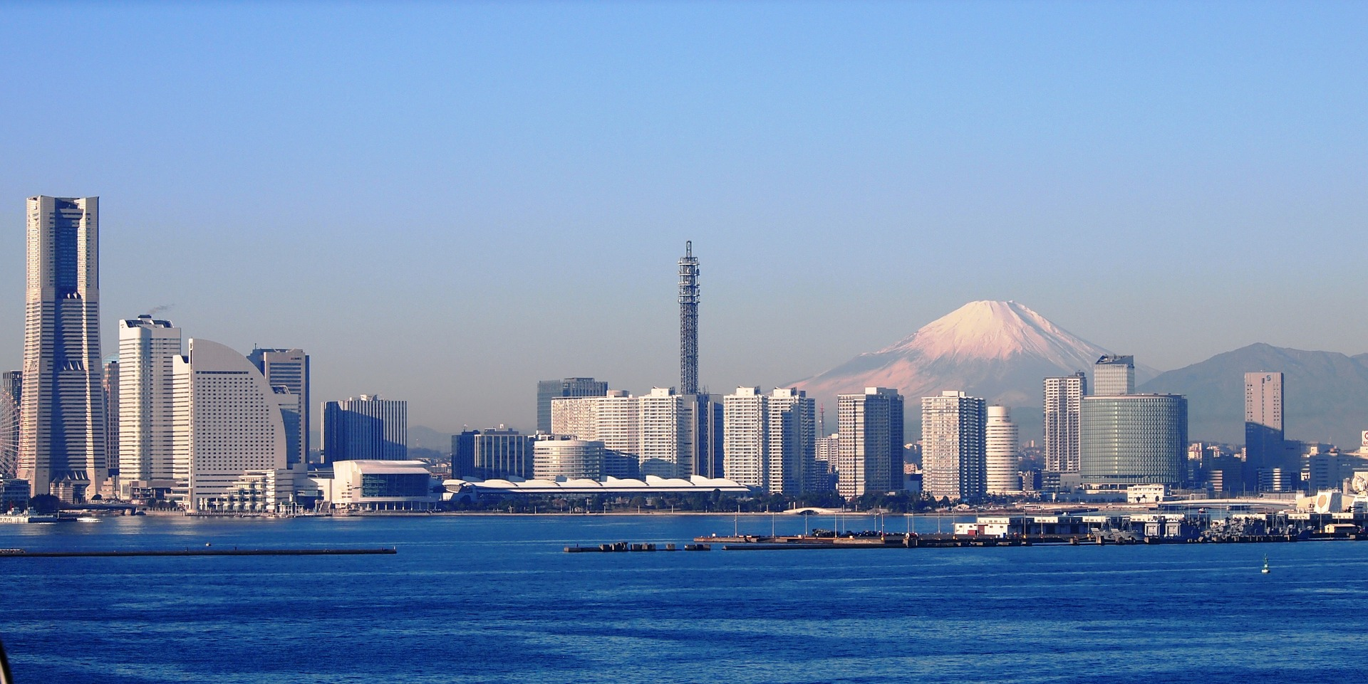Yokohama, Japan with Mount Fuji in background