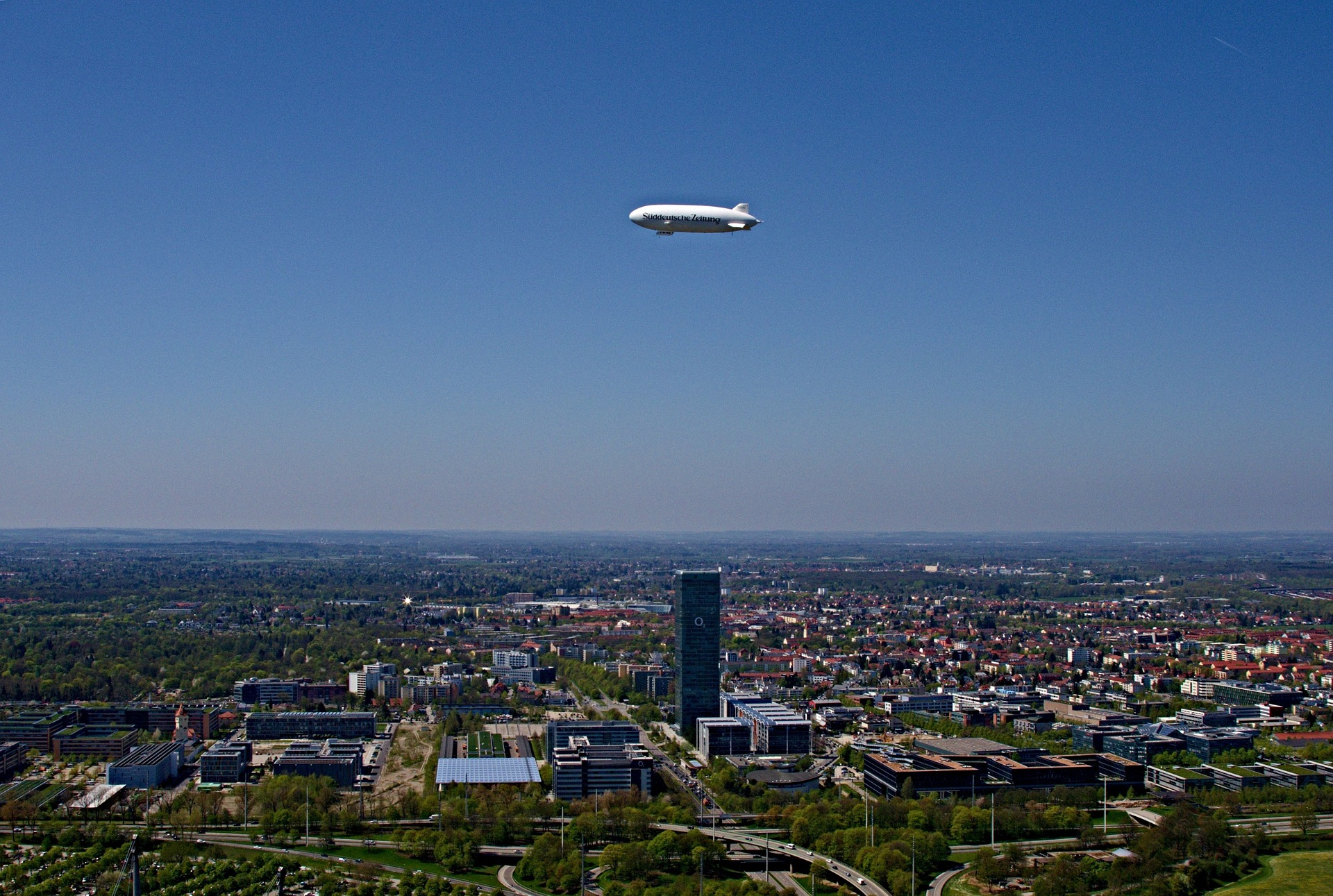 Zeppelin above Munich Olympic Park, Munich, Germany