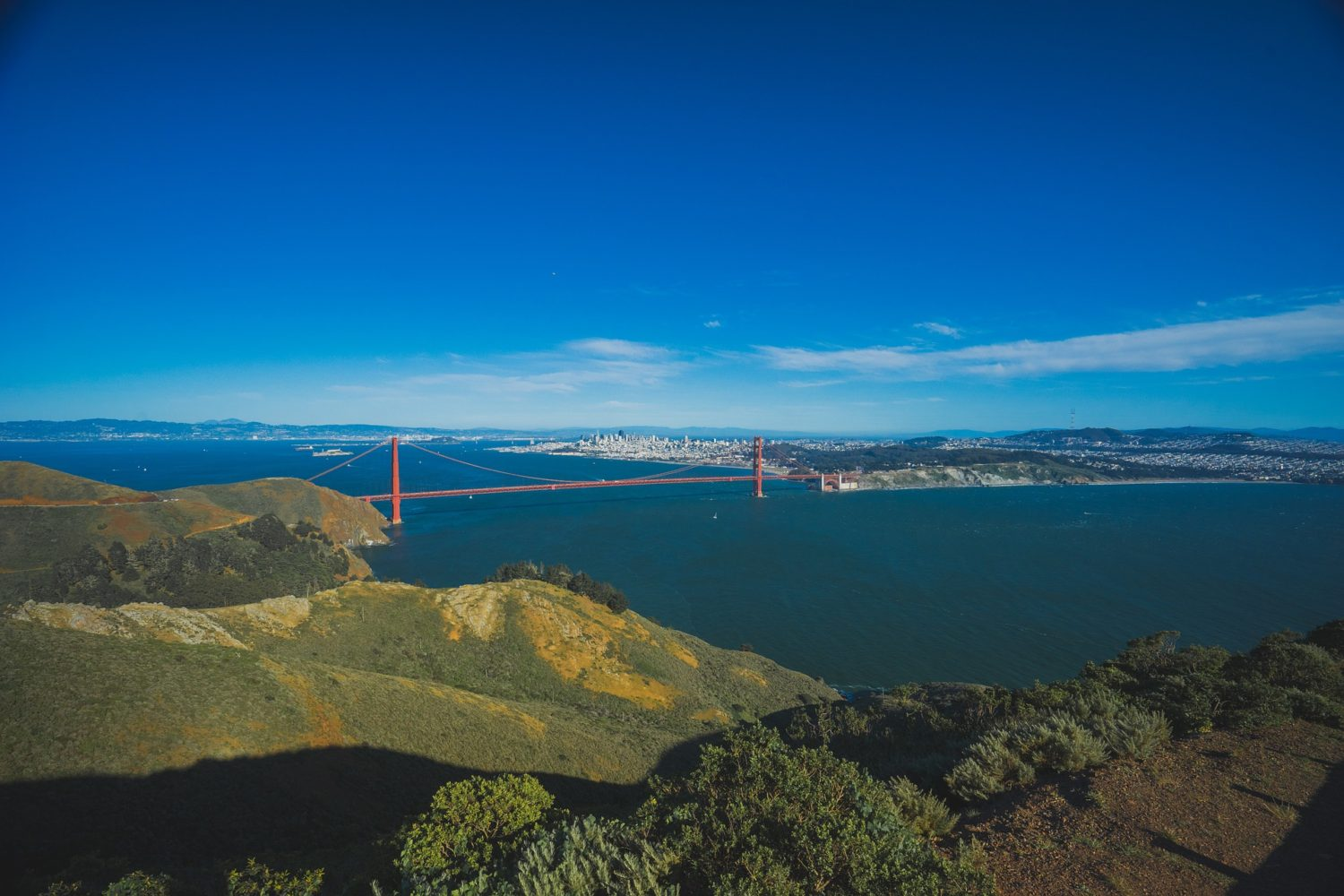 Panorama view of San Francisco and the Golden Gate Bridge