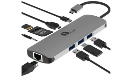1byone USB C Hub 9 in 1 Aluminium Multiport Adapter