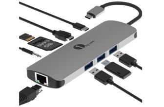 1byone USB C Hub 9 in 1 Aluminium Multiport Adapter