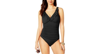 Amourri Women's Tummy-Hide Underwire Ruffled One Piece Swimsuit