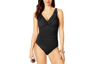 Amourri Women's Tummy-Hide Underwire Ruffled One Piece Swimsuit