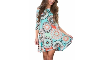 Anduuni Womens 3/4 Sleeve Print Tunic Midi Dress with Pockets
