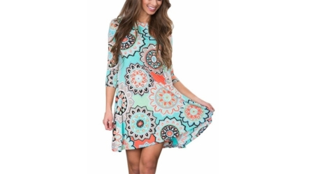 Anduuni Womens 3/4 Sleeve Print Tunic Midi Dress with Pockets