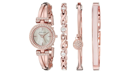 Anne Klein Rose Goldtone Crystal Bangle And Watch Gift Set