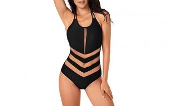 Annigo One Piece Sexy Mesh Halter Back Bathing Swimsuit