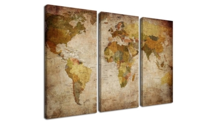 Ardemy Art Retro Abstract Beige 3 Panels World Map