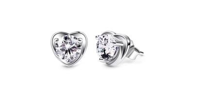 B.Catcher Sterling Silver Cubic Zirconia Heart Stud Shape Earrings