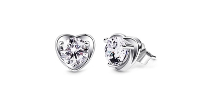 B.Catcher Sterling Silver Cubic Zirconia Heart Stud Shape Earrings