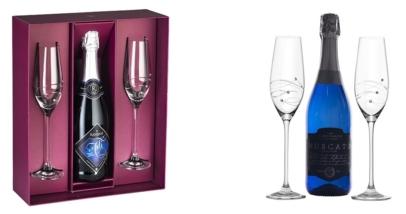 Barski Handmade Glass Set of 2 Champagne Flutes