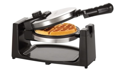 Classic Polished Stainless Steel Rotating Belgian Waffle Maker
