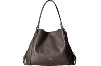 COACH Womens Polished Pebbled Leather Edie 31 Shoulder Bag