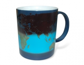 Day and Night Heat Sensitive Mug With World Map