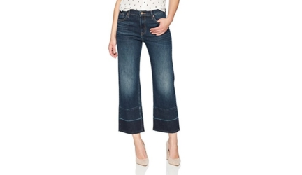 Denim Bloom Women's High Rise Wide Leg Released Hem Jean