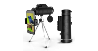 High Powered Monocular with Smartphone Adapter and Tripod