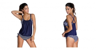 EvaLess Women's Casual Strips Sporty Two Piece Tankini Swimsuit