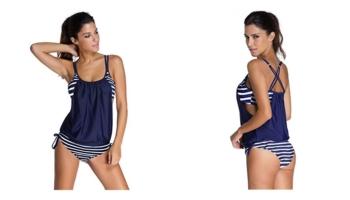 EvaLess Women's Casual Strips Sporty Two Piece Tankini Swimsuit