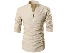 GARSEBO Beloved Men Button Slim Henley Neck Long Sleeve Casual Linen Shirts